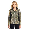 LADIES CAMOFLAUGE COLORBLOCK SOFT SHELL JACKET
